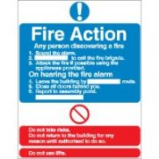 Multiple safety sign - Fire Action Any 011
